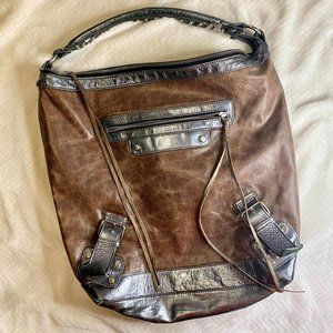 Tano Brown Leather Shoulder Bag Tote Silver